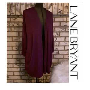 Lane Bryant 18/20 Open Cardigan Wine